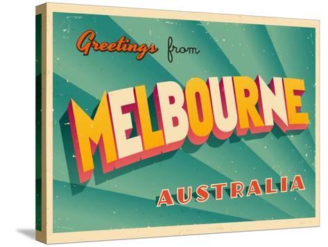 Vintage touristic greeting card melbourne australia art print by vintage touristic greeting card melbourne australia real callahan stretched canvas print m4hsunfo