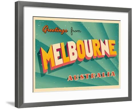 Vintage touristic greeting card melbourne australia art print by vintage touristic greeting card melbourne australia real callahan framed art print m4hsunfo