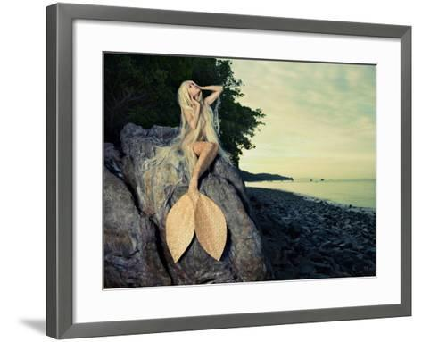 Beautiful Fashionable Mermaid Sitting On A Rock By The Sea-George Mayer-Framed Art Print