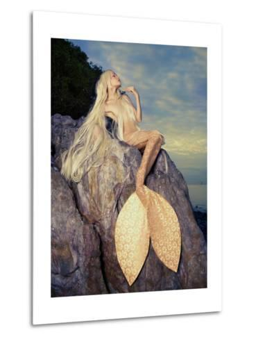 Beautiful Fashionable Mermaid Sitting On A Rock By The Sea-George Mayer-Metal Print