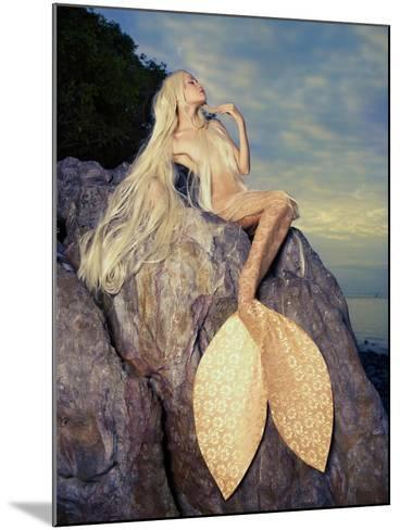 Beautiful Fashionable Mermaid Sitting On A Rock By The Sea-George Mayer-Mounted Art Print