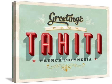 Vintage Touristic Greeting Card - Tahiti, French Polynesia-Real Callahan-Stretched Canvas Print
