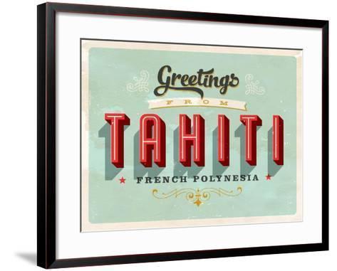 Vintage Touristic Greeting Card - Tahiti, French Polynesia-Real Callahan-Framed Art Print