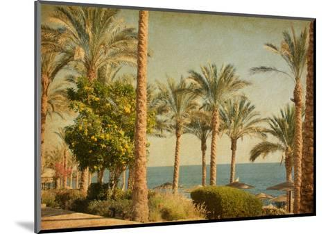 Retro Image Of Beach With Date Palms Amid The Blue Sea And Sky. Paper Texture-A_nella-Mounted Art Print