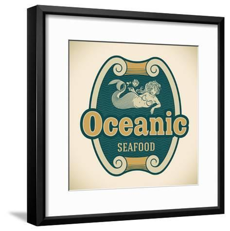 Retro-Styled Seafood Label Including An Image Of Mermaid-Arty-Framed Art Print