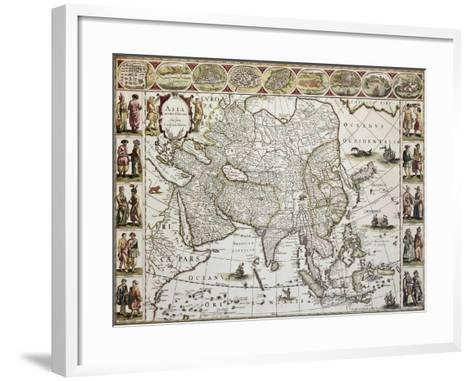 Asia Old Map. Created By Willem Bleau, Published In Amsterdam, Ca. 1650-marzolino-Framed Art Print