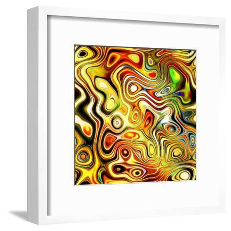 Art Glass Colorful Textured Red, Golden And Green Background-Irina QQQ-Framed Art Print
