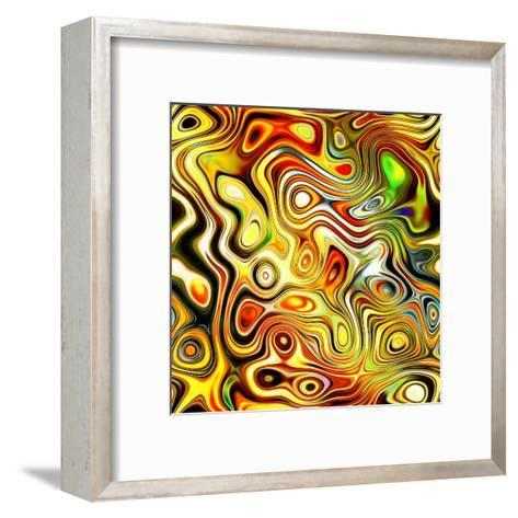 Art Glass Colorful Textured Red, Golden And Green Background-Irina QQQ-Framed Art Print