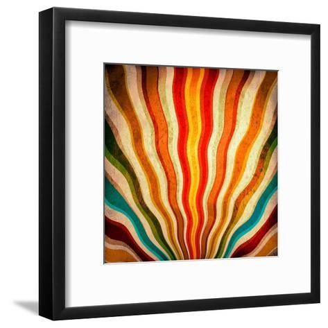 Multicolor Sunbeams Grunge Background. A Vintage Poster-molodec-Framed Art Print