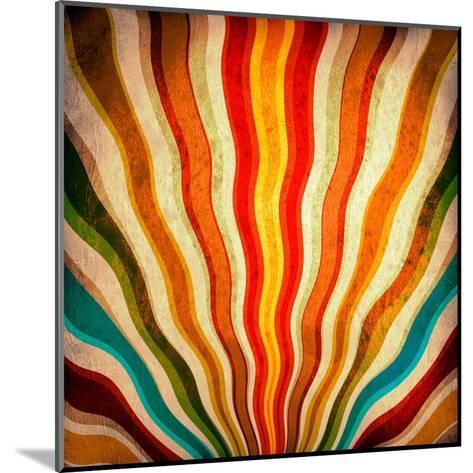 Multicolor Sunbeams Grunge Background. A Vintage Poster-molodec-Mounted Art Print