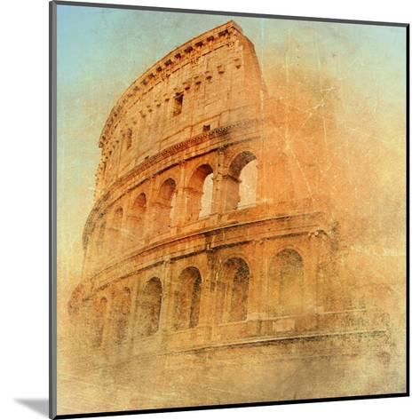 Great Antique Rome - Coloseum , Artwork In Retro Style-Maugli-l-Mounted Art Print