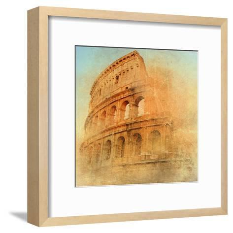 Great Antique Rome - Coloseum , Artwork In Retro Style-Maugli-l-Framed Art Print