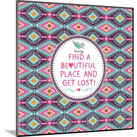Hipster Seamless Aztec Pattern With Geometric Elements-tomuato-Mounted Art Print