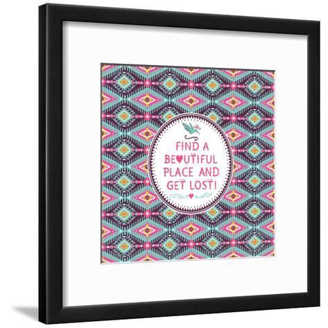 Hipster Seamless Aztec Pattern With Geometric Elements-tomuato-Framed Art Print