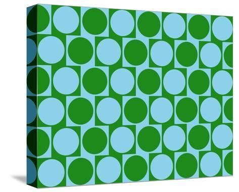 Optical Illusion Cafe Wall Effect Circles Light Blue Green-Luis Stortini Sabor aka CVADRAT-Stretched Canvas Print