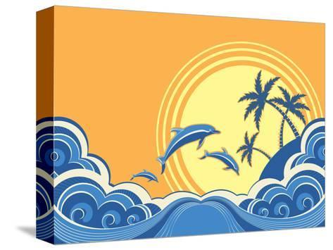 Seascape Waves Poster With Dolphins-GeraKTV-Stretched Canvas Print