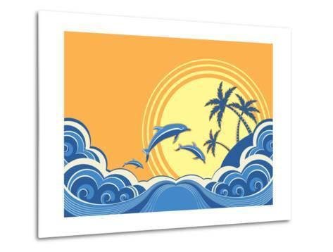 Seascape Waves Poster With Dolphins-GeraKTV-Metal Print