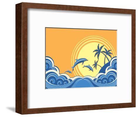 Seascape Waves Poster With Dolphins-GeraKTV-Framed Art Print