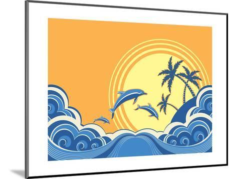 Seascape Waves Poster With Dolphins-GeraKTV-Mounted Art Print