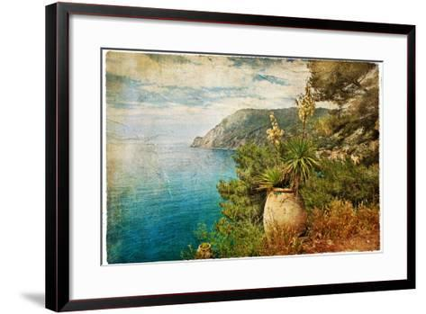 Picturesue Italian Coast - Artwork In Retro Painting Style-Maugli-l-Framed Art Print