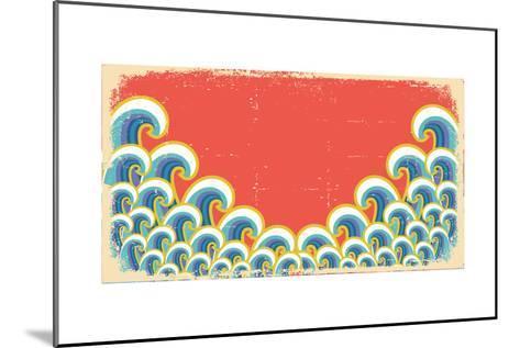 Abstract Waves Illustration On Vintage-GeraKTV-Mounted Art Print