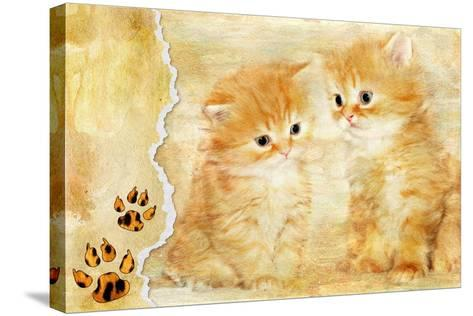 Vintage Background With Paper Border And Kittens Picture-Maugli-l-Stretched Canvas Print