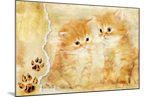Vintage Background With Paper Border And Kittens Picture-Maugli-l-Mounted Art Print