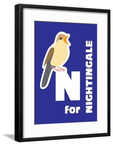 N For The Nightingale, An Animal Alphabet For The Kids-Elizabeta Lexa-Framed Art Print
