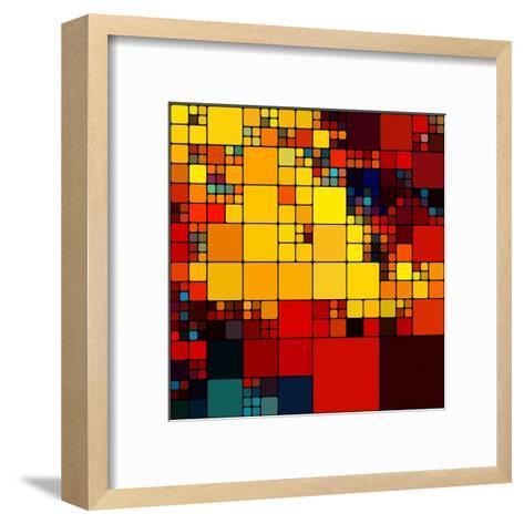 Art Abstract Vibrant Rainbow Geometric Pattern Background-Irina QQQ-Framed Art Print
