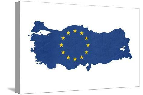 European Flag Map Of Turkey Isolated On White Background-Speedfighter-Stretched Canvas Print