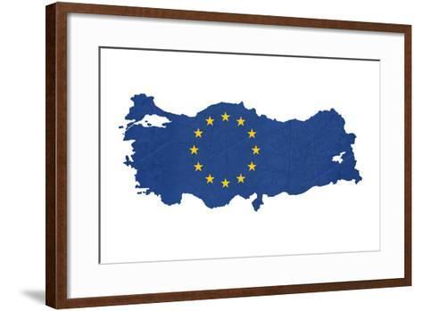 European Flag Map Of Turkey Isolated On White Background-Speedfighter-Framed Art Print