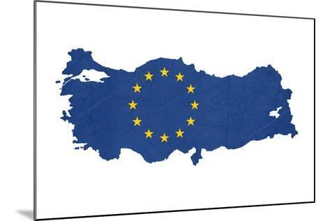 European Flag Map Of Turkey Isolated On White Background-Speedfighter-Mounted Art Print