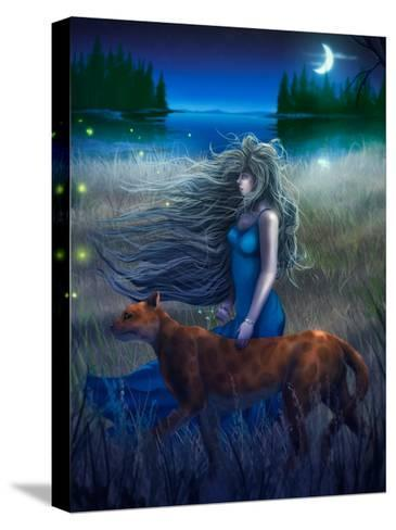 Woman And Cat Walking In The Moonlight - Digital Painting-anatomyofrockthe-Stretched Canvas Print