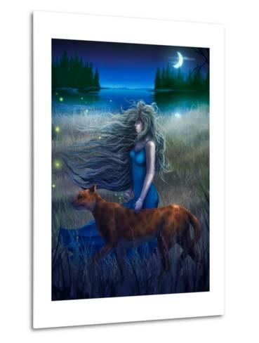 Woman And Cat Walking In The Moonlight - Digital Painting-anatomyofrockthe-Metal Print