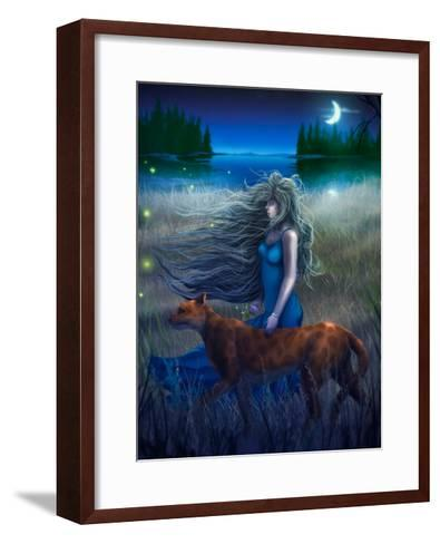 Woman And Cat Walking In The Moonlight - Digital Painting-anatomyofrockthe-Framed Art Print
