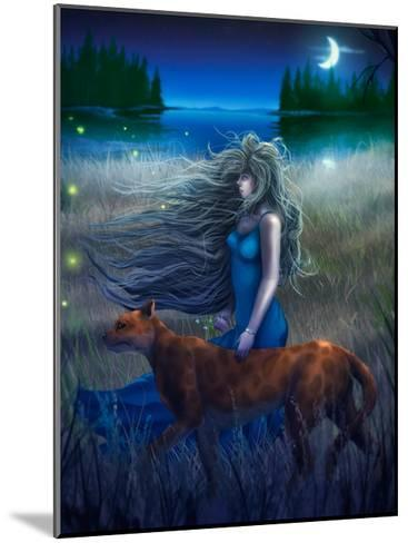Woman And Cat Walking In The Moonlight - Digital Painting-anatomyofrockthe-Mounted Art Print
