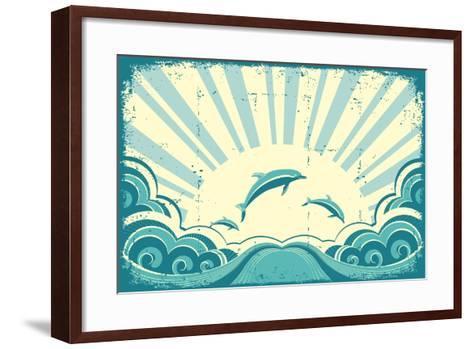 Blue Dolphins Jumping In Sea In Summer Day-GeraKTV-Framed Art Print