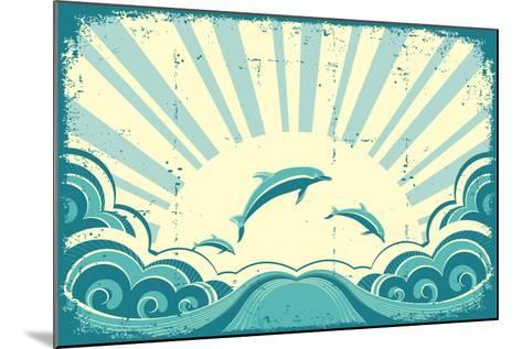Blue Dolphins Jumping In Sea In Summer Day-GeraKTV-Mounted Art Print