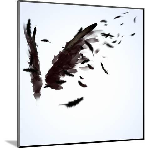 Abstract Image Of Black Wings Against Light Background-Sergey Nivens-Mounted Art Print