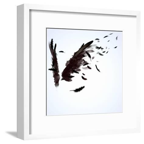 Abstract Image Of Black Wings Against Light Background-Sergey Nivens-Framed Art Print