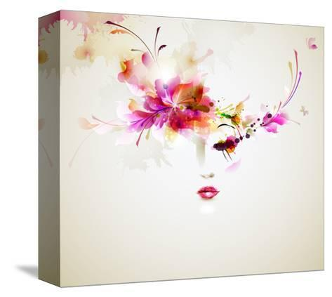 Beautiful Fashion Women With Abstract Design Elements-artant-Stretched Canvas Print