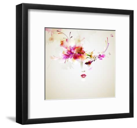 Beautiful Fashion Women With Abstract Design Elements-artant-Framed Art Print