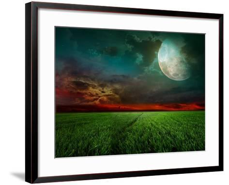 Young Wheat Field At Night With The Moonlight-Krivosheev Vitaly-Framed Art Print
