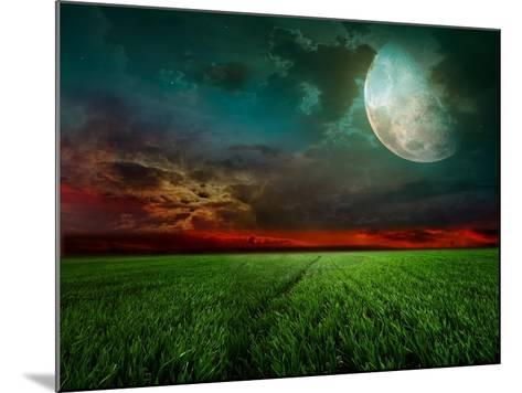 Young Wheat Field At Night With The Moonlight-Krivosheev Vitaly-Mounted Art Print