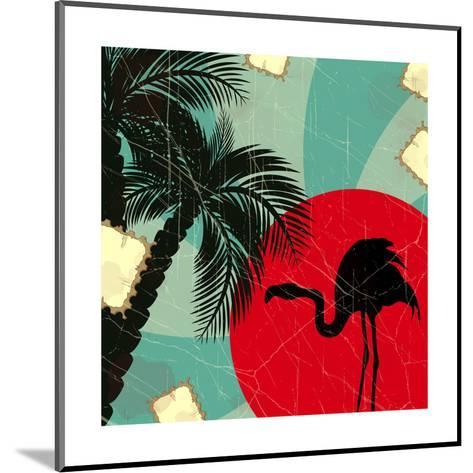 Retro Blue Tropical Background With Flamingo-elfivetrov-Mounted Art Print