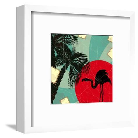 Retro Blue Tropical Background With Flamingo-elfivetrov-Framed Art Print