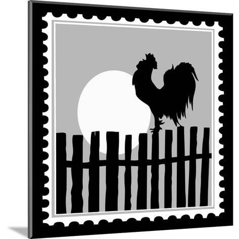 Silhouette Of The Cock On Postage Stamps-basel101658-Mounted Art Print