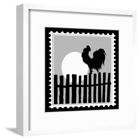 Silhouette Of The Cock On Postage Stamps-basel101658-Framed Art Print