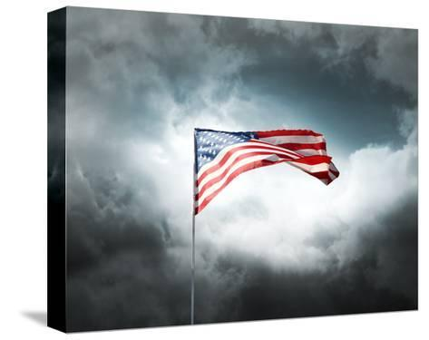 American Flag On A Cloudy Dramatic Sky-daboost-Stretched Canvas Print