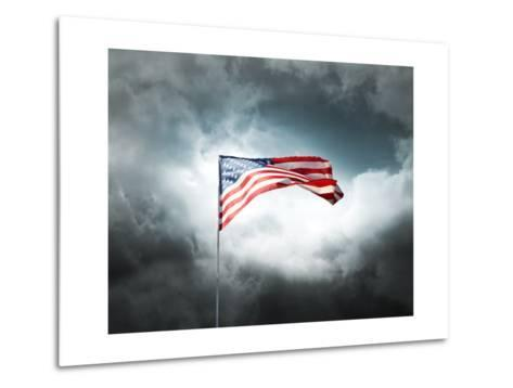 American Flag On A Cloudy Dramatic Sky-daboost-Metal Print